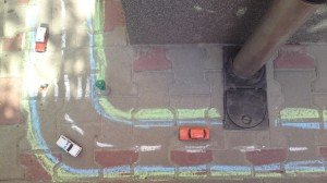 krétával rajzolt autópálya